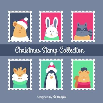 Collection de timbres animaux de noël