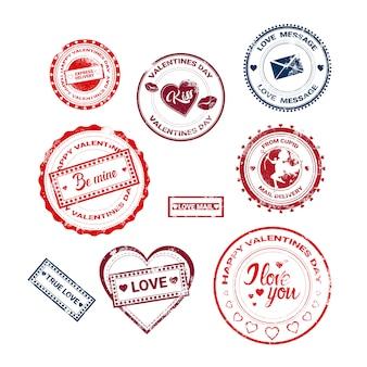 Collection de timbres autocollants amoureuse de cartes-cadeaux de la saint-valentin