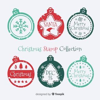 Collection de timbres de boules de noël
