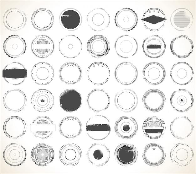Collection de timbres en caoutchouc vide grunge