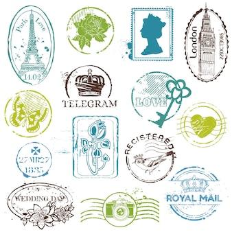 Collection de timbres en caoutchouc vintage