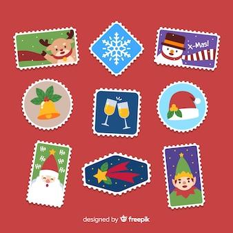Collection de timbres colorés de noël
