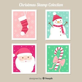 Collection de timbres d'éléments de noël