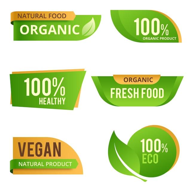 Collection de timbres d'étiquettes de produits alimentaires écologiques biologiques naturels écologiques verts