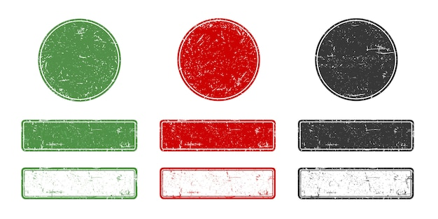 Collection de timbres de grange dans un style rétro. cadres de tampon vides en caoutchouc ronds et rectangulaires pour tout logo ou texte.