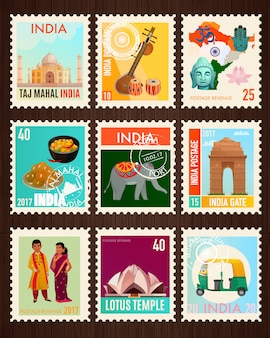 Collection de timbres d'inde