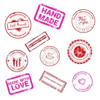 Collection de timbres de la journée de l'amitié heureuse logo carte de voeux vacances entre amis