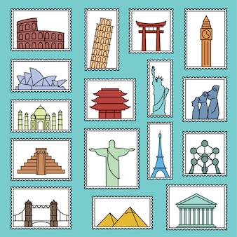Collection de timbres monument