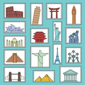 Collection de timbres monument