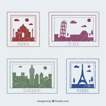 Collection de timbres avec des monuments