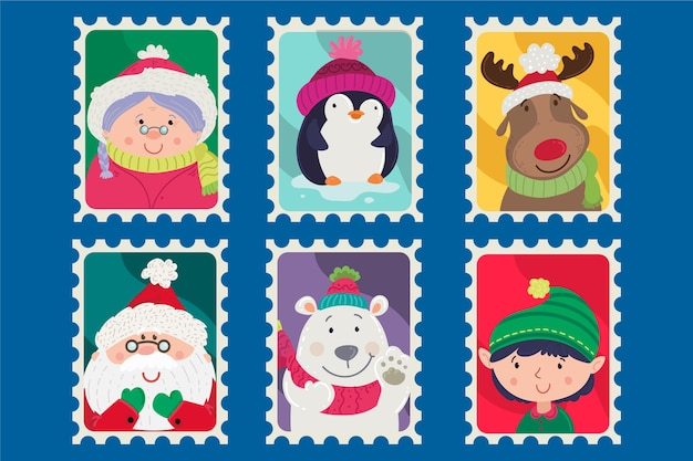 Collection de timbres de noël au design plat