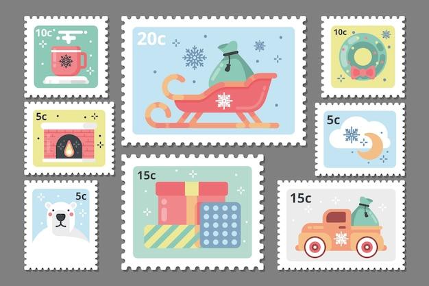 Collection de timbres de noël au design plat