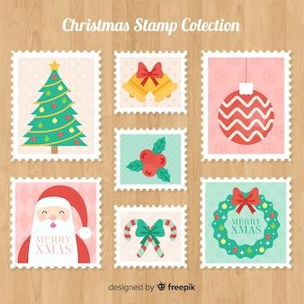 Collection de timbres de noël colorés