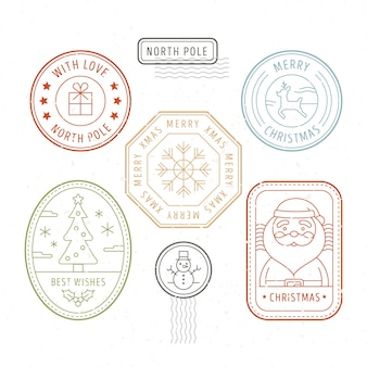 Collection de timbres de noël design plat