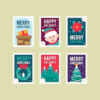 Collection de timbres de noël design plat