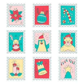 Collection de timbres de noël dessinés à la main