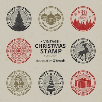 Collection de timbres de noël entourés vintage