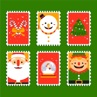 Collection de timbres de noël plats
