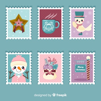 Collection de timbres de noël
