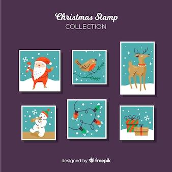 Collection de timbres de personnages de noël
