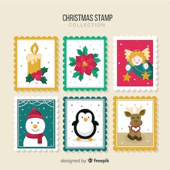 Collection de timbres plats de noël