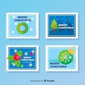 Collection de timbres postaux de noël plats