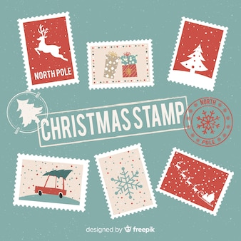 Collection de timbres postaux de noël