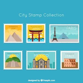Collection de timbres de la ville dans le style plat