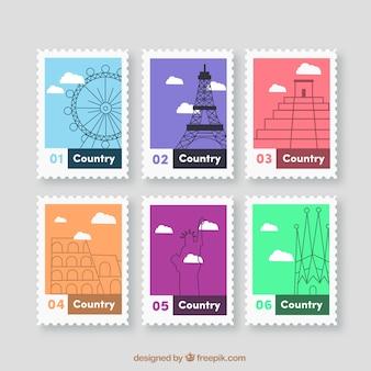 Collection de timbres de la ville avec des points de repère