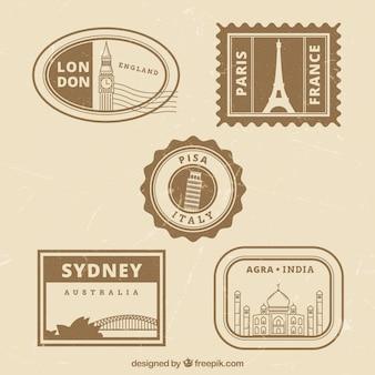 Collection de timbres de la ville rétro