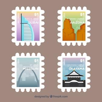Collection de timbres de voyage avec des monuments