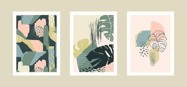 Collection de tirages d'art avec des feuilles tropicales abstraites.