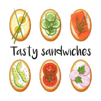 Collection de toasts avec différentes garnitures sur fond blanc. de délicieux sandwichs. objet isolé sur fond blanc. style de bande dessinée.