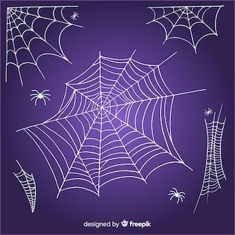 Collection toile d'araignée araignée dessiné à la main