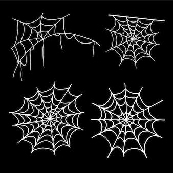 Collection de toile d'araignée, isolée sur fond noir. jeu de toile d'araignée halloween. icônes dessinées à la main pour la décoration d'halloween. dessin au trait dans le style de croquis.
