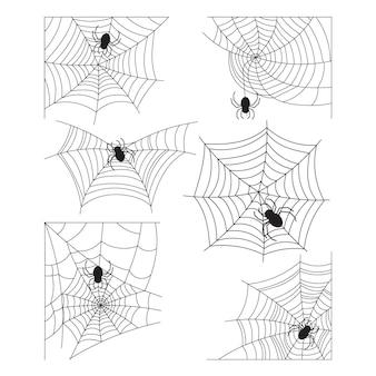 Collection de toiles d'araignées halloween dessinées à la main