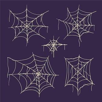 Collection de toiles d'araignées plates dessinées à la main