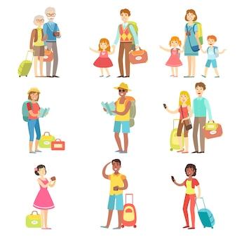 Collection de touristes heureux avec sacs et appareils photo