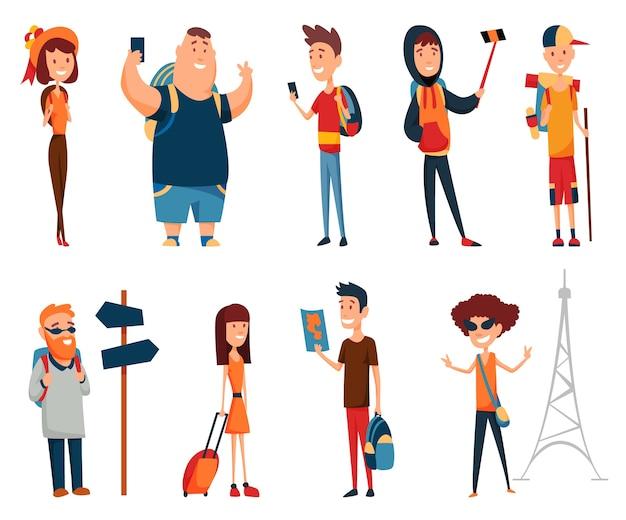 Collection touristique. concept d'un mode de vie actif, tourisme. un homme et une femme dans différentes situations de tournée avec smartphone et sacs à dos.