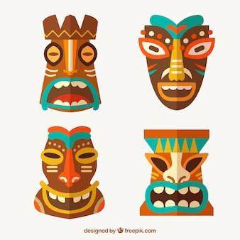 Collection traditionnelle de masques tiki