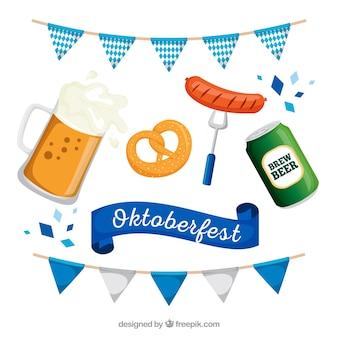 Collection traditionnelle de nourriture et de boissons oktoberfest
