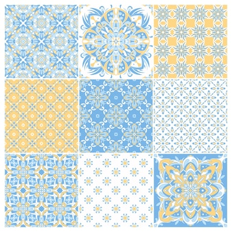 Collection Traditionnelle Portugaise Ornée De Carreaux Azulejos. Ornement Folklorique Ethnique. Vecteur Premium