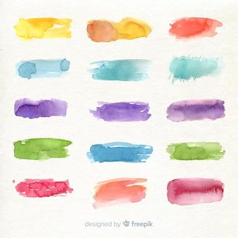 Collection de traits aquarelle colorée