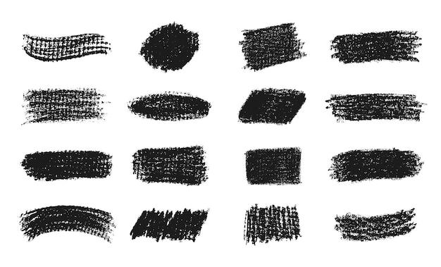 Collection de traits de craie noire abstraite