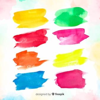 Collection de traits de pinceau aquarelle coloré