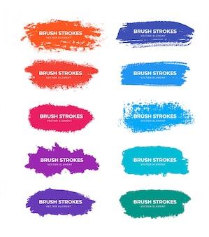Collection de traits de pinceau colorés