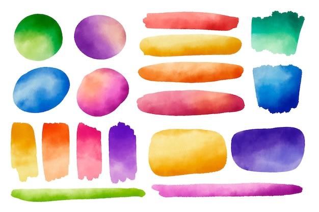 Collection de traits et de taches d'aquarelle peinte à la main