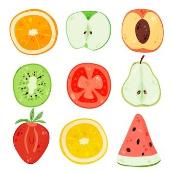 Collection de tranches de fruits dessinés à la main