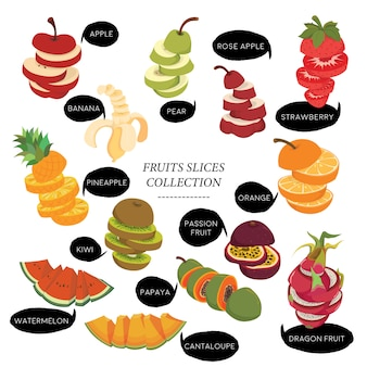 Collection de tranches de fruits