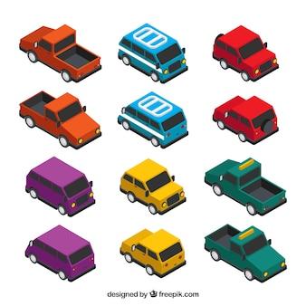 Collection des transports dans le style isométrique